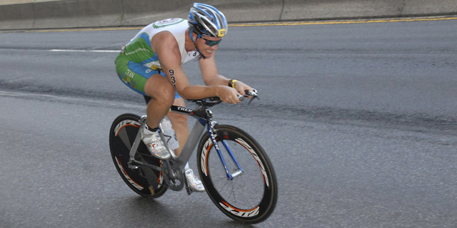 Mikkel Pitzner Competing At The 2012 New York City Triathlon Event