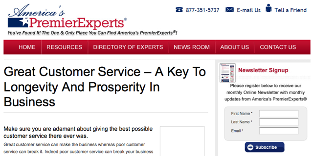 Mikkel Pitzner Article on America's PremierExperts' Website cut